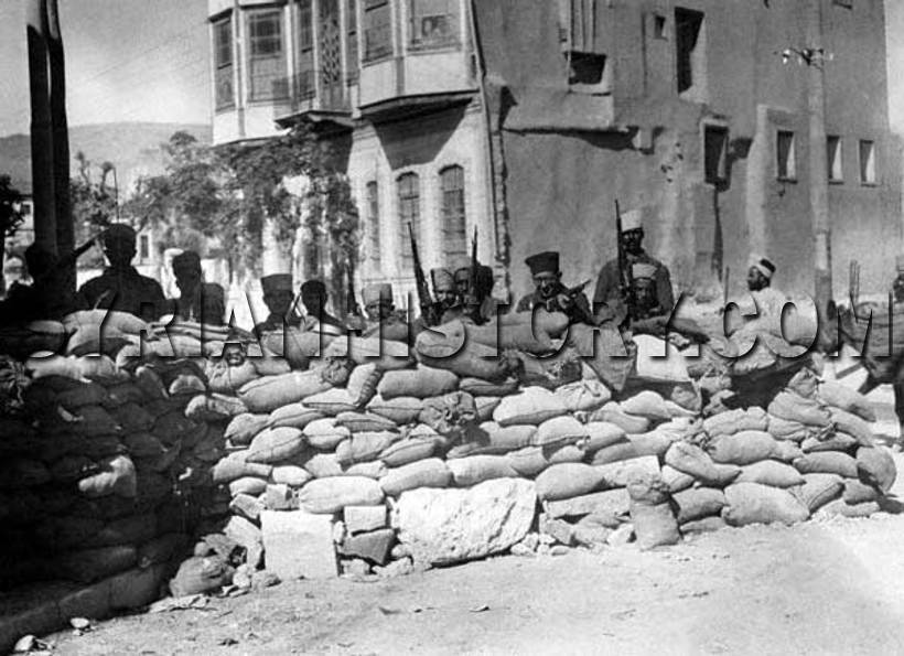 Syrian History - French barricades erected in Damascus in